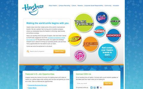 Screenshot of Jobs Page hasbro.com - Jobs at Hasbro - captured Sept. 18, 2014