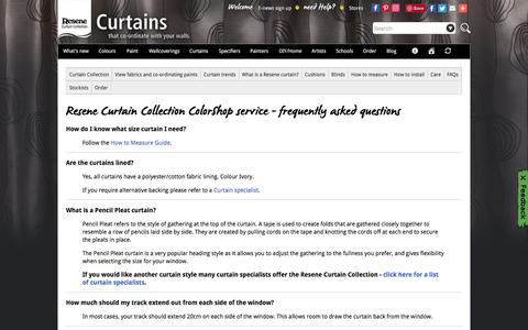 Screenshot of FAQ Page resene.co.nz - Resene Curtain Collection ColorShop service - FAQs - captured July 27, 2018