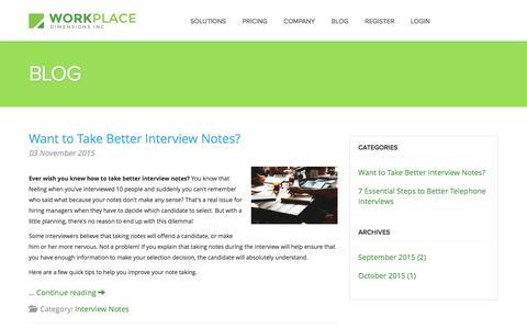 Screenshot of Blog workplacedimensions.com - Interview Software - captured Feb. 24, 2016