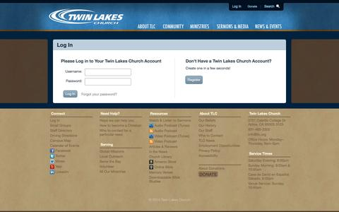 Screenshot of Signup Page tlc.org - Twin Lakes Church / Login - captured Oct. 6, 2014