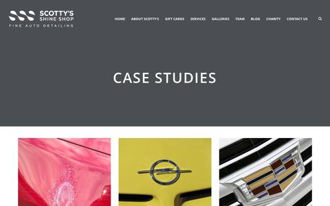 Screenshot of Case Studies Page shineshop.ca - Case Studies – Scotty's Shine Shop | Car Cleaning | Auto detailing | Paint Correction and Coating Specialists | Clearbra & Paint Protection Film | London, Ontario - captured Nov. 18, 2016