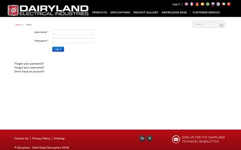 Screenshot of Login Page dairyland.com - Dairyland - Solid State Decouplers - Log In - captured Oct. 7, 2018