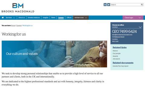 Screenshot of Jobs Page brooksmacdonald.com - Working for us – Brooks Macdonald - captured Aug. 4, 2018