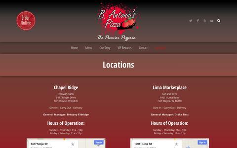 Screenshot of Locations Page bantonios.com - Locations ‹ B. Antonio's Pizza - captured Oct. 2, 2014