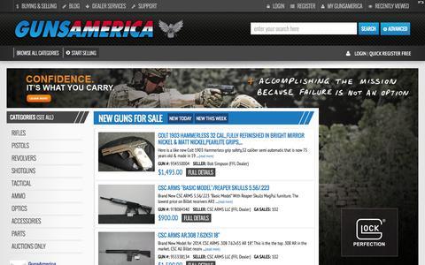 Screenshot of Home Page gunsamerica.com - GunsAmerica Buy Guns Online and Sell Guns Online - Gun Auctions - captured Sept. 18, 2014