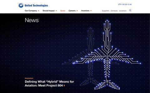 Screenshot of Press Page utc.com - News   United Technologies - captured April 13, 2019