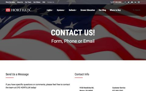 Screenshot of Contact Page eyehortilux.com - Contact Us | EYE Hortilux - captured July 15, 2018