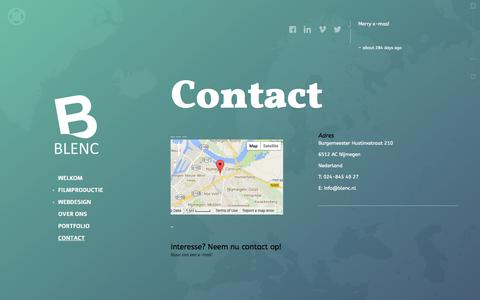 Screenshot of Contact Page blenc.nl - Contact - Blenc Design & Productions - captured Oct. 5, 2014