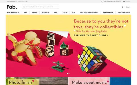 Screenshot of Home Page fab.com - Fab.com | Fab is Everyday Design. - captured Dec. 1, 2015