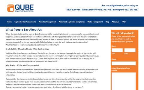 Screenshot of Testimonials Page qube-uk.co.uk - Legionella treatment testimonials | Asbestos testimnials | Asbestos services | Qube - captured Sept. 30, 2018