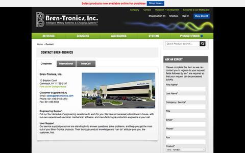 Screenshot of Contact Page bren-tronics.com - Contact - captured Oct. 5, 2014