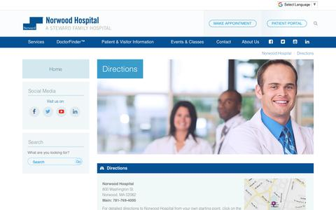 Screenshot of Maps & Directions Page norwood-hospital.org - Directions: Norwood Hospital - Norwood, MA - captured Oct. 18, 2018