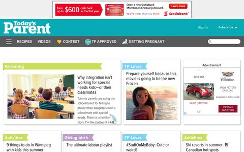 Screenshot of Home Page todaysparent.com - Today's Parent - Pregnancy, baby, toddler advice for Canadian parents - captured June 21, 2016