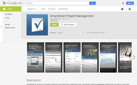 Screenshot of Android App Page google.com - Smartsheet Project Management - Android Apps on Google Play - captured Oct. 22, 2014