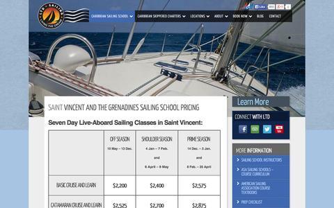 Screenshot of Pricing Page ltdsailing.com - Caribbean Sailing School Pricing - LTD Sailing - captured Sept. 30, 2014