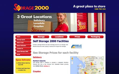 Screenshot of Locations Page storage2000.com.au - Self Storage 2000 - Storage Unit Facilities Across Adelaide for personal, business & car storage. Servicing City, Western, Northern & Southern Suburbs of Adelaide. - captured Oct. 7, 2014