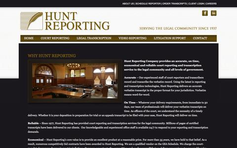 Screenshot of About Page courtreport.com - About Hunt Reporting   Hunt Reporting   Hunt Reporting - captured Feb. 2, 2016