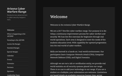 Screenshot of Home Page azcwr.us - Arizona Cyber Warfare Range – Revolutionary advancement in cyber security happens here. - captured Feb. 6, 2016