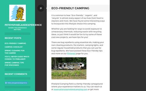 Screenshot of Blog wordpress.com - peteyspinelandexperience | Where the experience matters. - captured Sept. 12, 2014