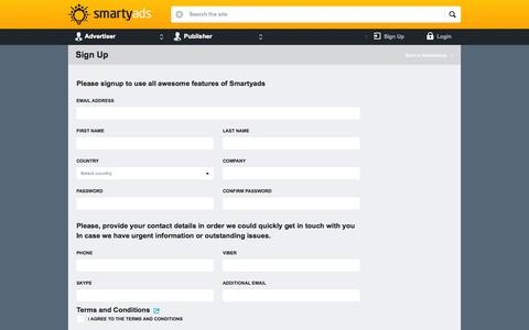 Screenshot of Signup Page smartyads.com - Sign Up | SmartyAds.com - captured Oct. 21, 2014