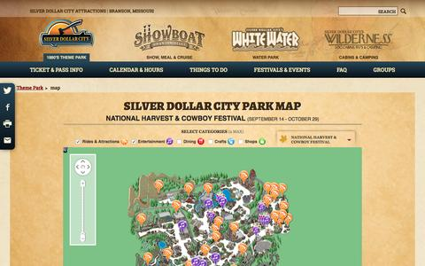 Screenshot of Maps & Directions Page silverdollarcity.com - Theme Park Map | Silver Dollar City | Explore The Park - captured Sept. 14, 2016