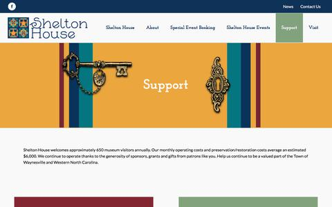 Screenshot of Support Page sheltonhouse.org - Support – Shelton House - captured Feb. 27, 2018
