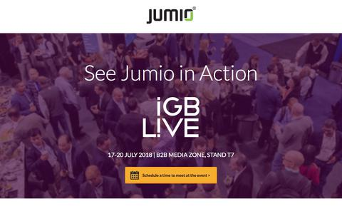 Screenshot of Landing Page jumio.com - See Jumio in Action at iGB live 2018 - captured July 18, 2018
