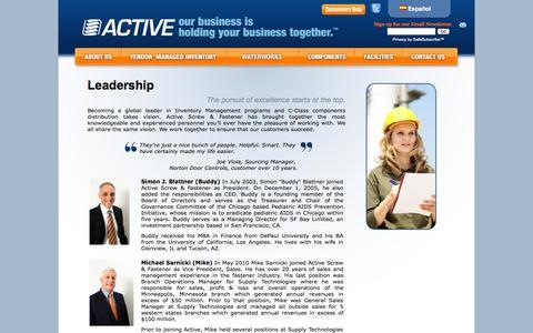 Screenshot of Team Page activescrew.com - Active Screw & Fastener - Active Inventory Management - Leadership | Active Screw - captured Oct. 4, 2014