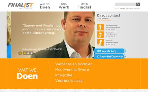 Screenshot of Home Page finalist.nl - Finalist Open IT oplossingen | Finalist maakt IT oplossingen die Zorg & Onderwijs intenser laten samenwerken - captured Sept. 30, 2014