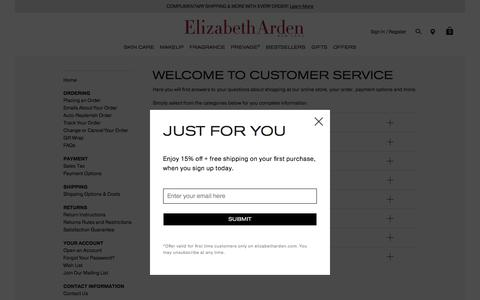 Screenshot of Support Page elizabetharden.com - Customer Service | Elizabeth Arden - captured May 17, 2017