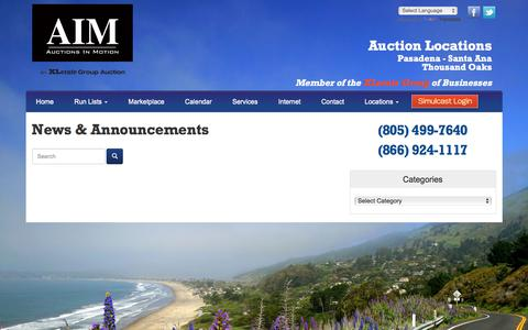 Screenshot of Press Page auctionsinmotion.com - News & Announcements | Auctions in Motion - captured Oct. 9, 2017