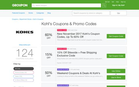 60% Off Kohl's Coupons, Promo Codes & Deals, December 2017 - Groupon | Groupon