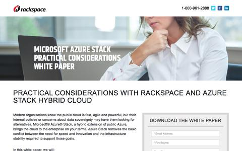 Screenshot of Landing Page rackspace.com - Microsoft Azure Stack Hybrid Cloud - captured Sept. 22, 2018
