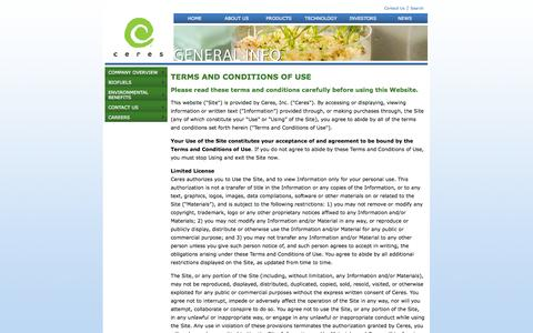 Screenshot of Terms Page ceres.net - Ceres - Terms and Conditions - captured Sept. 13, 2014