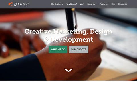 Screenshot of Home Page gotgroove.com - Magento Experts | Hubspot Platinum Partner | Groove: Creative Marketing, Design & Development - captured Feb. 17, 2016
