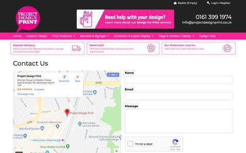 Screenshot of Contact Page projectdesignprint.co.uk - Contact Page | Project Design Print - captured Jan. 26, 2018