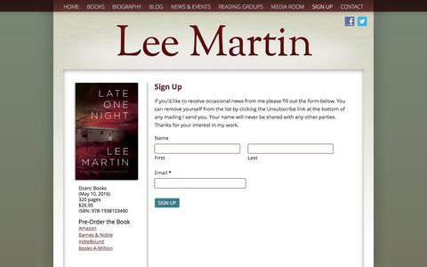 Screenshot of Signup Page leemartinauthor.com - Sign Up - Lee Martin - captured May 2, 2016