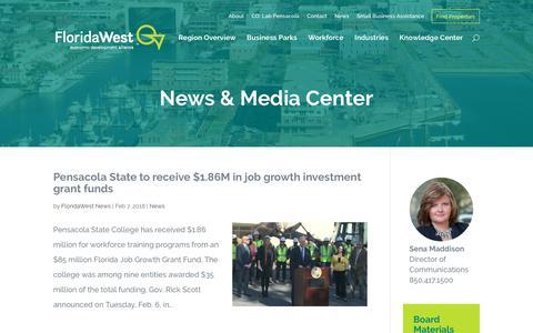 Screenshot of Press Page floridawesteda.com - News & Media Center | FloridaWest - captured Feb. 14, 2018
