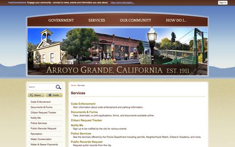 Screenshot of Services Page arroyogrande.org - Services   Arroyo Grande, CA - Official Website - captured Oct. 2, 2014