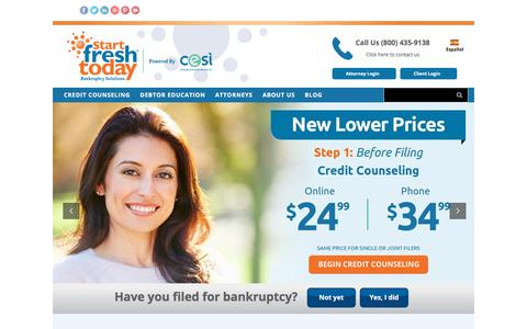Screenshot of Home Page startfreshtoday.com - Start Fresh Today | Bankruptcy Credit Counseling and Debtor Education - captured July 29, 2018