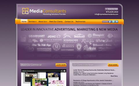 Screenshot of Home Page mymediaconsultants.com - Media Consultants | New Jersey's Leader in Innovative Advertising - captured Oct. 6, 2014