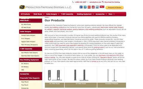 Screenshot of Products Page pfsno.com - Production Fastening Systems - Welding and Metal Fastener Products - captured Oct. 3, 2014
