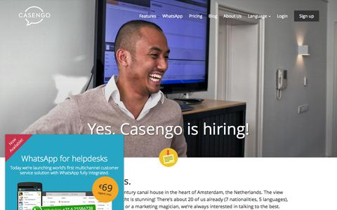 Screenshot of Jobs Page casengo.com - Casengo | Jobs - captured July 3, 2015