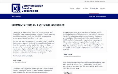 Screenshot of Testimonials Page comserviceco.com - CSC: Customer Testimonials - captured Oct. 8, 2014