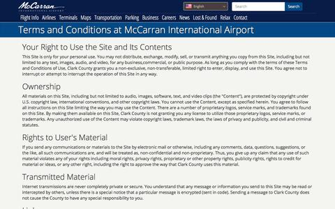 Screenshot of Terms Page mccarran.com - Terms and Conditions at McCarran International Airport - captured Sept. 25, 2018