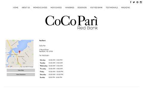 Screenshot of Locations Page cocopari.com - Locations : Red Bank's Classiest Women's Boutique Footwear, Handbags, Clothing, Accessories : CoCo Pari - captured June 22, 2016