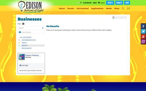 Screenshot of Services Page edisonfestival.org - Businesses - captured Sept. 27, 2018