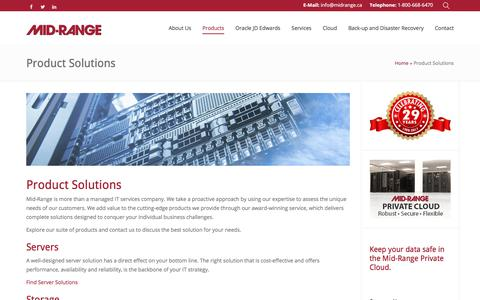 Screenshot of Products Page midrange.ca - Product Solutions - Mid-Ranged Managed IT Services - captured Oct. 18, 2017