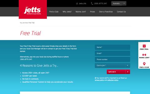 Screenshot of Trial Page jetts.com.au - Free Trial | Jetts 24 Hour Fitness Gyms, Fitness Clubs - captured Sept. 24, 2014