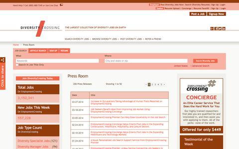 Screenshot of Press Page diversitycrossing.com - DiversityCrossing.com News, Press Room, Press Releases | DiversityCrossing.com - captured Aug. 7, 2018